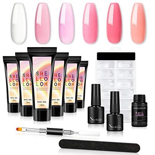 Shelloloh Poly UV Gel de Uñas Kit 6pcs Extensión de Uñas