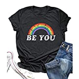 Camiseta de Mujer Rainbow Graphic T-Shirts You Are Letter Printing Camisetas de Manga Corta Summer Casual Vacation Shirts LGBT Pride T-Shirt