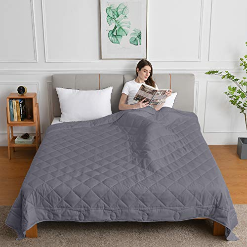 Weighted Blanket King Size(20lbs,88x104Inches), Weighted Blanket California King Size Bed Adult Weighted Blanket with 100% Soft Cotton and Glass Beads-Dark Grey