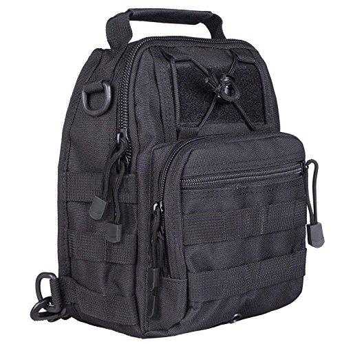 Shuweiuk Tactical Sling-Rucksack Militär Schulter Kasten EDC-Tasche für Outdoor-Sport Camp Wandern, schwarz - 6