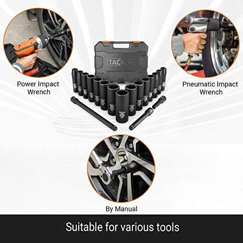 TACKLIFE Drive Impact Socket Set, 18pcs 1/2-inch Drive Deep Impact Socket Set, 6 Point, 10-24mm, 15pcs Metric Sockets with 3pcs 1/2-Inch Drive Impact Extension Bar Set - HIS1A