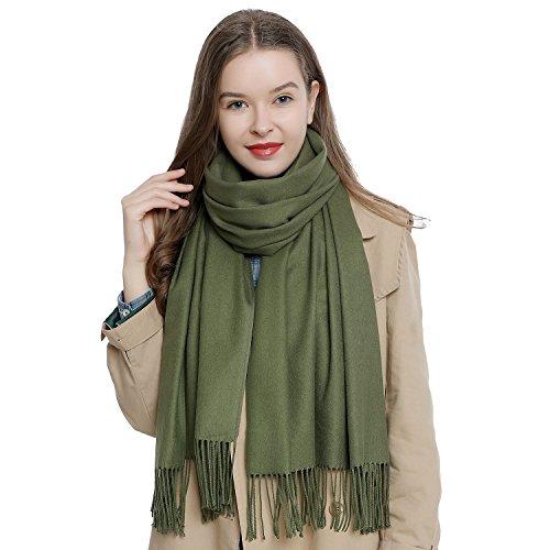 DonDon Damen Schal einfarbig weich 185 x 65 cm grün