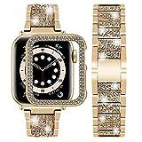Wutwuk Correa Apple Watch con Diamantes Correa Apple Watch de Acero Inoxidable Compatible con Apple Watch 40mm Series SE 6/5/4/3/2/1 con Estuche Protector Pulsera para Hombres y Mujeres Oro Rosa