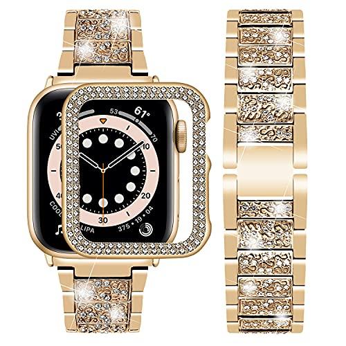 Wutwuk Correa Apple Watch Brillo Diamantes Correa Apple Watch de Acero Inoxidable Compatible con Apple Watch 48mm Series SE 6/5/4/3/2/1 con Funda Protectora Correa para Hombres y Mujeres Oro Rosa
