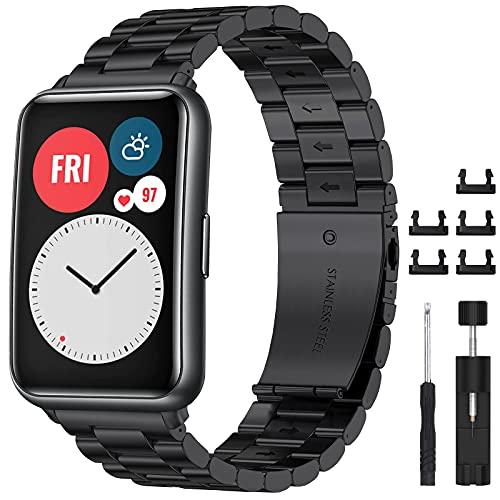 CAVN Correa Compatible con Huawei Watch Fit, Correa de Acero Inoxidable de Repuesto Equipada con Herramientas, Resistente Brazalete con Hebilla, Ajustable Correas Watch Fit para Hombres Mujeres