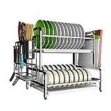 HYY-YY Estante de la Cocina Estante de la Cocina de Acero Inoxidable Estante del Plato de Drenaje Rack Rack de Almacenamiento DoubleLayer