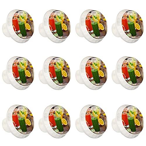 Pomos de cristal para cajones – 12 pomos de cristal de 35 mm para puerta de cristal con forma de sandía, limón, zumo de fruta con tornillos para el hogar, cocina, oficina, gabinete cajón