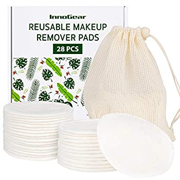InnoGear Reusable Makeup Remover Pads 28 Pack Washable Eye Makeup Remover Pads Organic Cotton Rounds Facial Cleansing Pads Bamboo Face Pads Makeup Remover Cloth with Laundry Bag