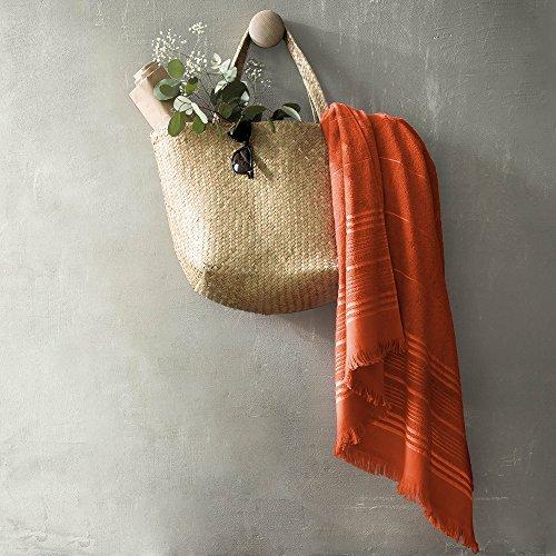 BLANC CERISE Serviette de Plage - Coton Bouclette et Jacquard 350g/m² - Orange 100x150 cm