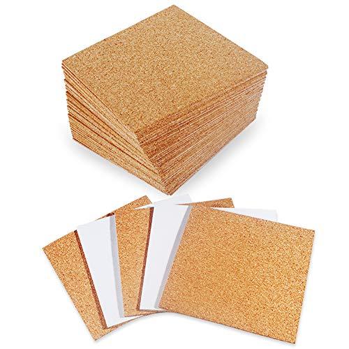 30 Stücke Korkplatte Selbstklebend Korkfliesen Korkplatte ca.10x10x0.2 cm DIY-Untersetzer Korkplattenquadrate Korkfliesen Korkmatte mit Starkem Klebstoff