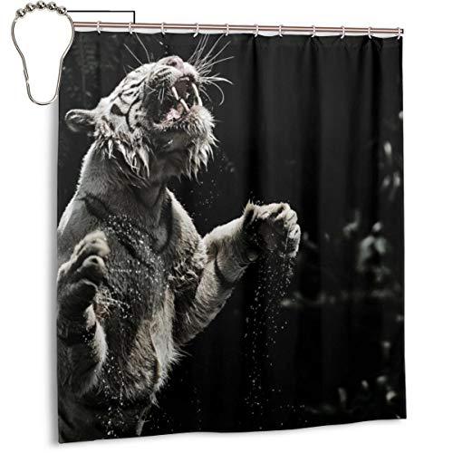 Duschvorhang für Badezimmer, weißer Tigergrins-Sprühtuch, Duschvorhang-Set mit Haken, dekoratives Badezimmer-Zubehör, 167,6 x 182,9 cm