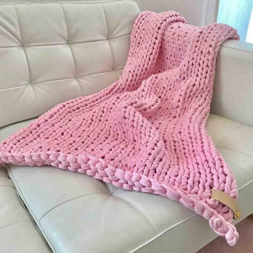 Adorist Chunky Knit Kuscheldecke Juna 100x150cm - Strickdesign im skandinavischen Stil - Strickdecke grob -Ideal als : Sofadecke - Überwurf fürs Bett/Sofa - Bettüberwurf - Plaid- rosa rosa
