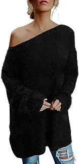 Womens Off Shoulder Long Sleeve Pullover Dress Faux Fur Sweatshirt Daily T-Shirt Blouse Tunic Tops REYO S-XL