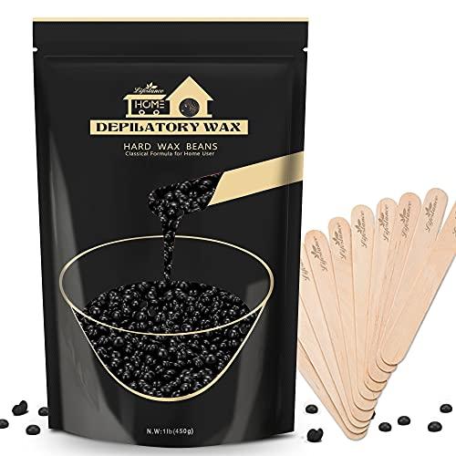 Lifestance cera depilatoria, 450g Negro perlas de Cera depilatoria caliente con 10 aplicadores, para la Depilación Cuerpo, la Cara, las Axilas y el Bikini, perlas de cera para depilación.