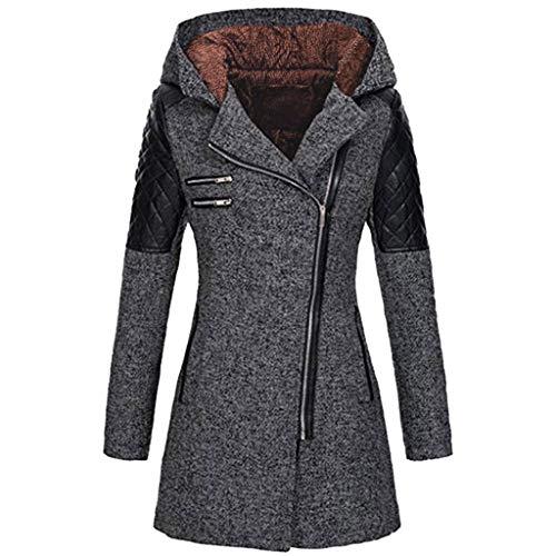 iHENGH Damen warme dünne Jacke dicken Mantel Winter Outwear mit Kapuze reißverschluss Mantel(Dunkelgrau, S)