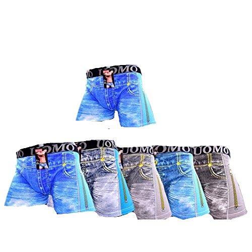 amara-global 6er Jeans Stlye Baumwolle Boxershorts Retro Boxer Shorts Unterhosen Unterwäsche (XXL)