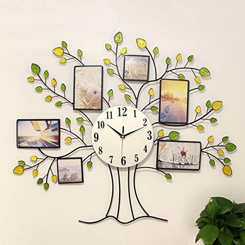 WHSS Reloj de pared con marco de fotos creativo, silencioso, árbol luminoso, nórdico, moderno, simple, decoración de la personalidad, sala de estar, comedor, dormitorio, 68 x 80 cm