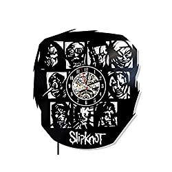 Levescale - Slipknot Vinyl Wall Clock - Exclusive Rock Design - Perfect Music Gift for Man, Boy, Girl Or Friends - Decoration for Club, Cafe, Living Room - Band Song Masks