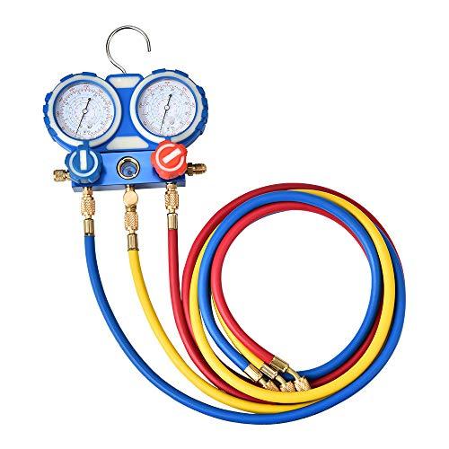 S SMAUTOP Manguera de Carga de refrigerante, con manómetro y Gancho Aplique a R134A R12 R22 R502 R404 Manómetro de Aire Acondicionado refrigerante