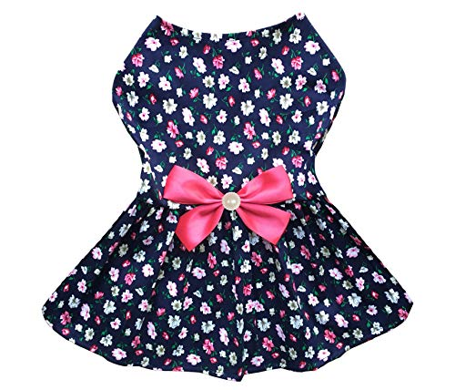 Petroom Cute Dog Clothes Pet Costume Puppy Dress,Doggie Sundress for Small Girl Dogs(Rose Red,XXS)
