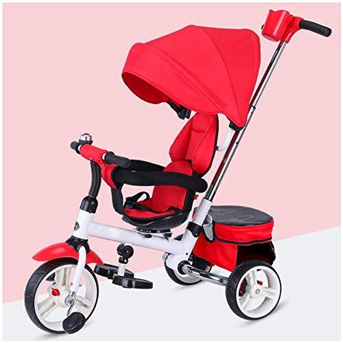 Trike Kinder Dreirad, Kinder Trike Dreirad Meine Erste Fahrt Trike Kinder Kleinkinder Kinder Fahren Auf Pedal Mehrfarbige Outdoor Bike Horn 3 In 1, Red