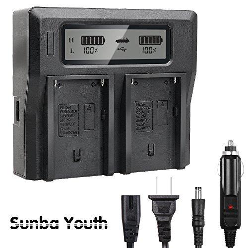 NP-F970 USB Dual Digital Battery Charger for Sony NP-F550 NP-F570 NP-F750 NP-F770 NP-F930 NP-F950 NP-F960 NP-FM55H NP-FM500H NP-QM71 NP-QM91 NP-QM71D Camera