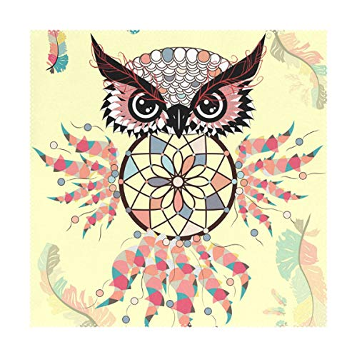 Mr.Lucien Mandala Owl Imitation Linen Placemats for Dining Table Bohemia Animal Pretty Pattern Heat Insulation Table Place Mats Stain Durable Kitchen Tablemats 2020953