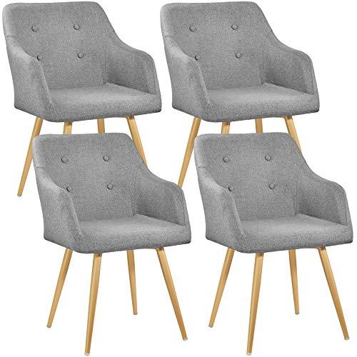 TecTake 800779 Set 4X Sedia da Pranzo rétro, Aggraziato Design, Elevato Comfort di Seduta, Resistente Rivestimento in Stoffa - Disponibile in Diversi Colori (Grigio | No. 403532)