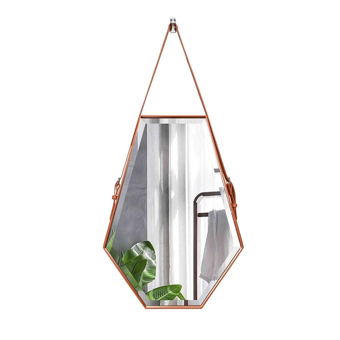 家禽バインド残り物バスルームの壁掛けミラー、50X70cm調整可能な人工皮革吊り鏡、北欧のミニマリストの六角形錬鉄フレーム、防爆バニティミラー、装飾的な廊下の入り口