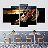 Lienzos decorativos Mejor motocross de acción-150x80 CM Cuadros Modernos Impresión de Imagen Artística Digitalizada Lienzo Decorativo Para Salón o Dormitorio 5 Piezas