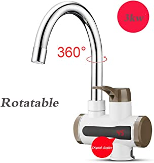 JXWWN 3KW Electric Hot Water Faucet, Stainless Steel Faucet,Electric Hot Water Heater Faucet Kitchen Heating Dispenser Tap,A