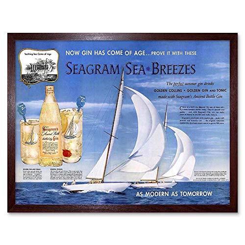 Wee Blue Coo Advert Drink Alcohol Gin Seagram Yacht Ocean Sail Art Print Framed Poster Wall Decor Kunstdruck Poster Wand-Dekor-12X16 Zoll