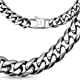 Bungsa® Königskette Edelstahl Massive Halskette 10mm breit/dick Biker 60cm lang (Edelstahlkette Damenkette Herrenkette Necklace Herren Frauen Männer Schmuck)