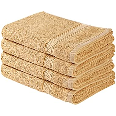 Utopia Towels Cotton Large Hand Towels (Beige, 4-Pack,16 x 28 inches) - Multipurpose Use for Bath, Hand, Face, Gym and Spa