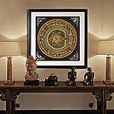 Altar budista Mandala Fe Estatua de Buda Pintura al óleo sobre lienzo Pared Tibet Thangka Decoración del hogar 30CMx30CM
