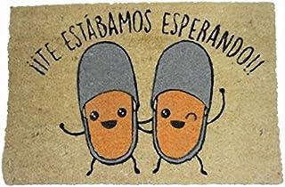 koko doormats Felpudo para Entrada de Casa Te Estábamos Esperando Original y Divertido/Fibra Natural de Coco con Base de P...