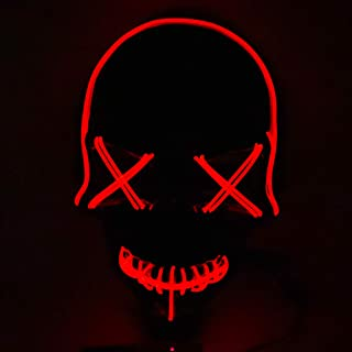 KKmoon Halloween LED Mask Cosplay Festival Masks Dark Night Light EL Line Light Mask Holiday Party Available Multicolor Op...