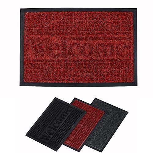 Rururug Felpudos Entrada Casa Impermeable Antideslizante Lavable Felpudo Goma, Alfombras Bienvenida Entrada, Cuidado Fácil (50x80cm, Rojo)