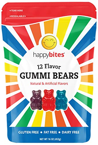 Happy Bites Gummi Bears - 12 Assorted Flavors - Gluten Free, Fat Free, Dairy Free - Resealable Pouch (1 Pound)