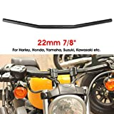 RENCALO 7/8 Pulgadas 22mm Motocicleta Arrastre Manillar Recto para Suzuki Honda CG125 GN125 JH70-Negro