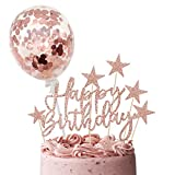 iZoeL Rose Gold Cake Decoration Confetti Balloon Cake Topper 5inch for Women Girls Rose Gold Happy Birthday Banner Stars Heart Cupcake Topper (rose gold)