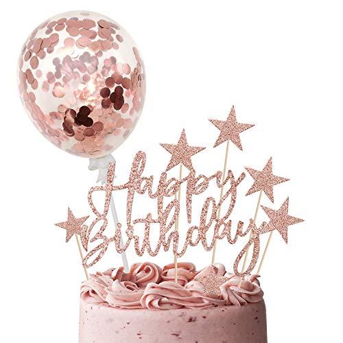 iZoeL Oro Champagne Compleanno Torta Topper, Banner Di Buon Compleanno Coriandoli Palloncino Stella Candela Decorazione Della Torta, Per Ragazza Feste Di Compleanno