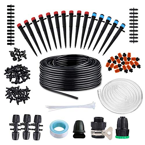 Chuangyue Garden Drip Irrigation Kit - 138ft Micro Automatic Plant Watering System with Adjustable Nozzle Sprinkler Sprayer Dripper for Landscape, Flower Bed, Patio Plants,Greenhouse,Lawn