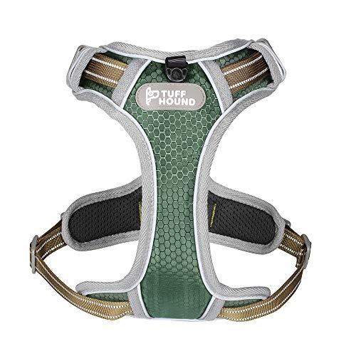 TUFF HOUND Arnés ajustable para perros, arnés para perros con líneas reflectantes, material duradero y suave