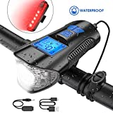 TESECU LED Bike Light USB Rear Bicycle Light Rechargeable Bike Tail Light and Front Light Set Cycle Headlight with Bicycle Speedometer Odometer Fits All Mountain & Road Bike