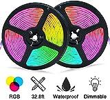 Tira Led RGB 10m (5m*2), Tiras led 5050 Luces Decorativas 10 metros,Multicolore 300 LEDs Impermeable IP65 SMD, con Control Remoto de 48 Teclas (3)