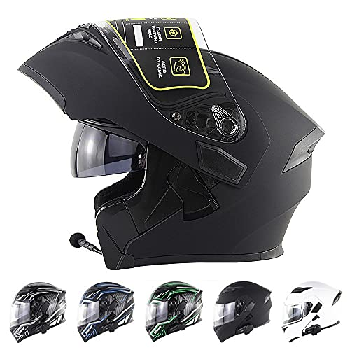 BDTOT Cascos de Moto Modulares Bluetooth Integrado con Doble Anti Niebla Visera Cascos de Motocicleta Dot/ECE Homologado para Montar Al Aire Libre Apto para Cruceros Locomotora