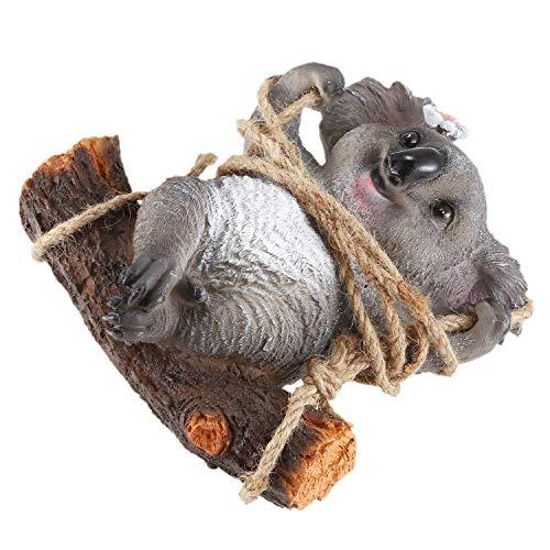 Adanse Koala - Figura decorativa para colgar, diseño de osito de koala, resina, para manualidades, columpio de columpio para casa, patio, jardín, decoración de árbol