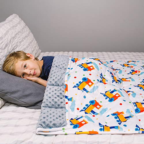 HomeSmart Products Weighted Blanket for Kids & Toddlers 5lbs 40x60 - Train Print - Ultra Soft Minky Material - Machine Washable