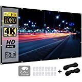 Projector Screen (120inch), 16:9 4K HD 3D, Funcilit Portable Projection Screen Foldable Wrinkle-Free Movie Screen for Home Theater Outdoor Indoor, Double Side Projection